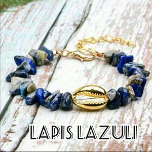 Natural Stone Cowrie Shell Bracelet - Lapis Lazuli